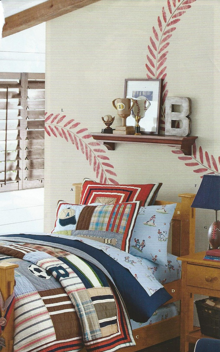 Baseball Theme Bedroom, the wall painting, bedding is a little young