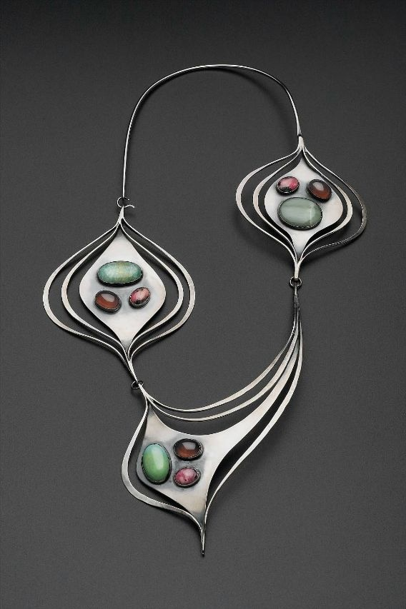 Necklace |  Art Smith.  Silver; turquoise, rhodochrosite, chrysoprase, and amethyst (or garnet). c. 1958