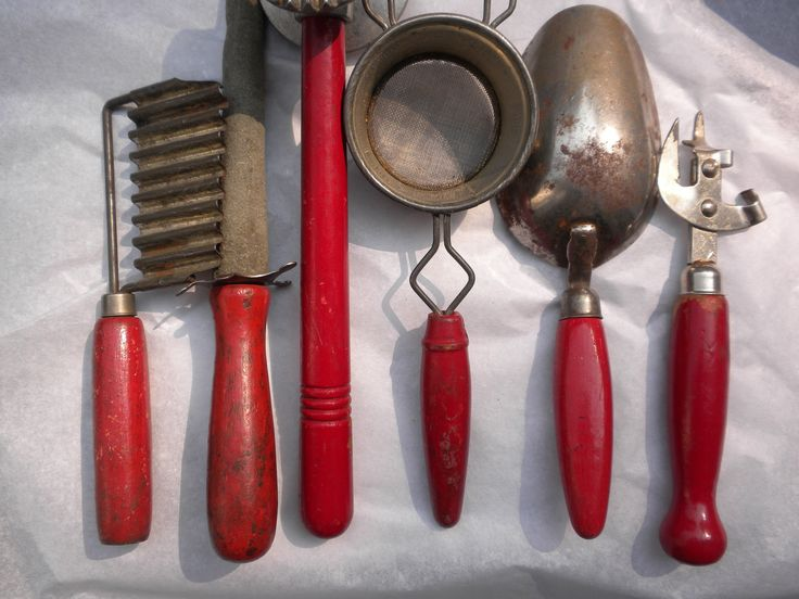 Vintage Kitchen Utensils, Red Wooden Handles, Instant Vintage Kitchen Decor  Collection. $32.00,