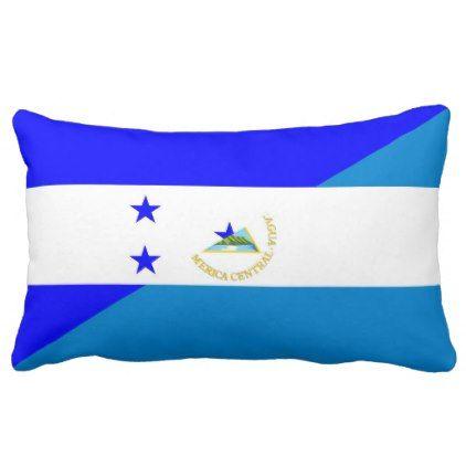 #country - #honduras nicaragua half flag country symbol lumbar pillow