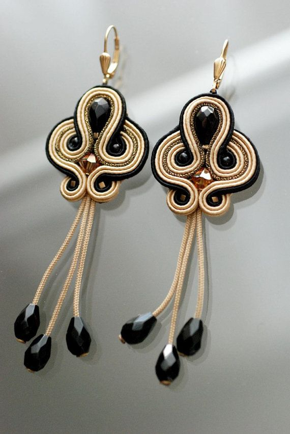 FREE SHIPPING .soutache earringsHandmade Great от BlackOutDesign