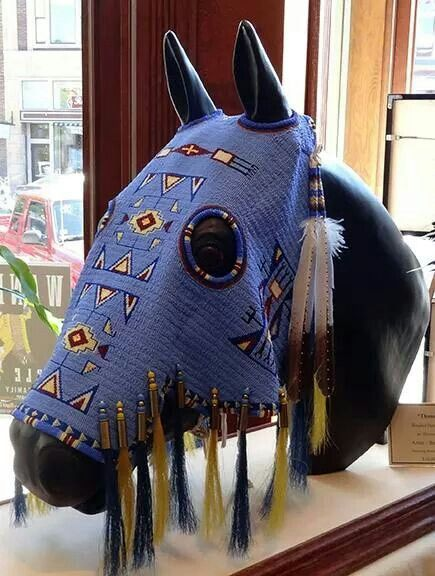 NATIVE AMERICAN HORSE MASK - blue beaded