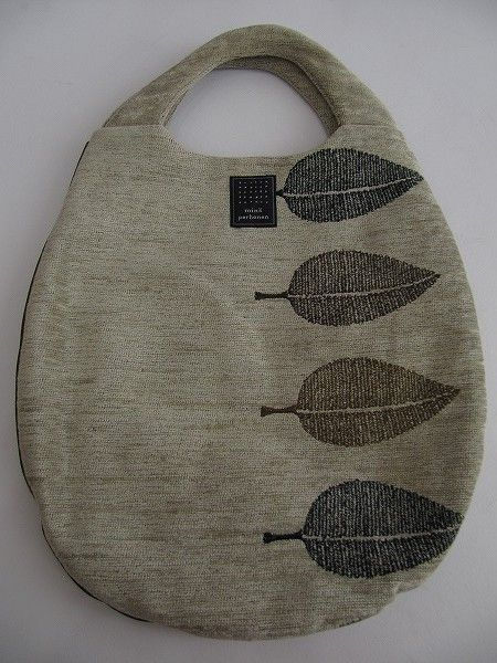 happa, embroidered bag with leaves
