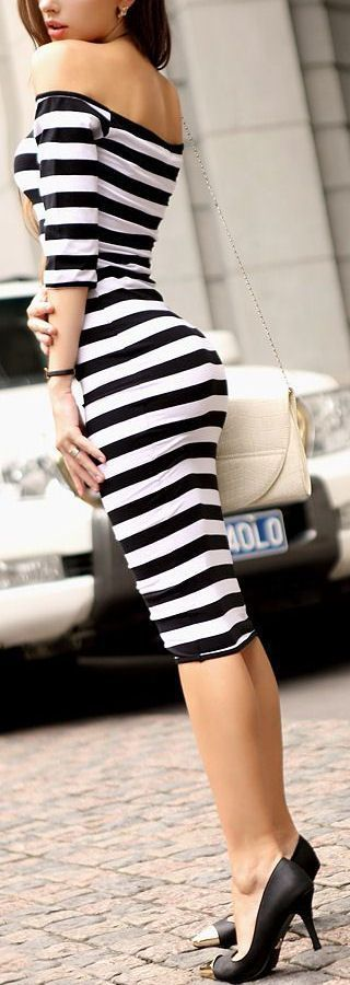 Latest fashion trends: Women's fashion | Off the shoulders flattering striped dress