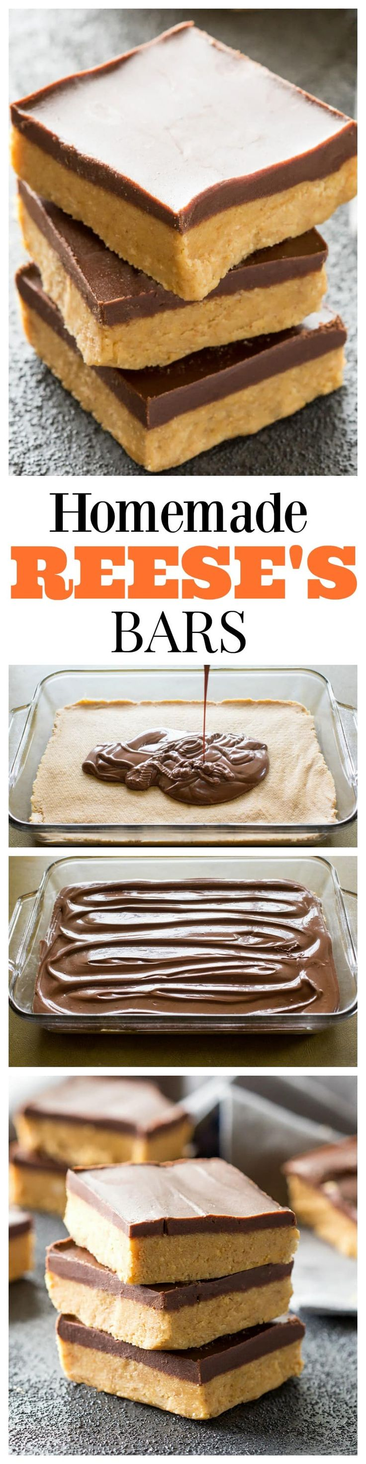 Homemade Reese's Bars - so easy you can make them at home! So good!