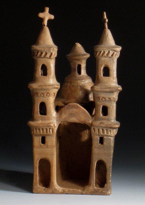 """Church"" attributed to Heron Martinez, Izucar de Matamoros, Mexico, burnished clay, circa 1970"