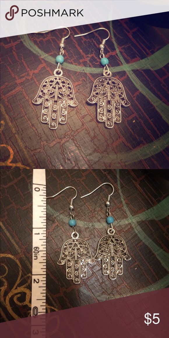 """Hamsa"" Earrings The Hamsa is an amulet believed in ancient middle eastern culture to protect with its mystical power. Also believed to be even more important than a talisman or lucky charm. These earrings come brand new in the package. They look just like some at urban outfitters! 💕🌷💋 Prices on bundles are negotiable. 💕🌷💋 Jewelry Earrings"