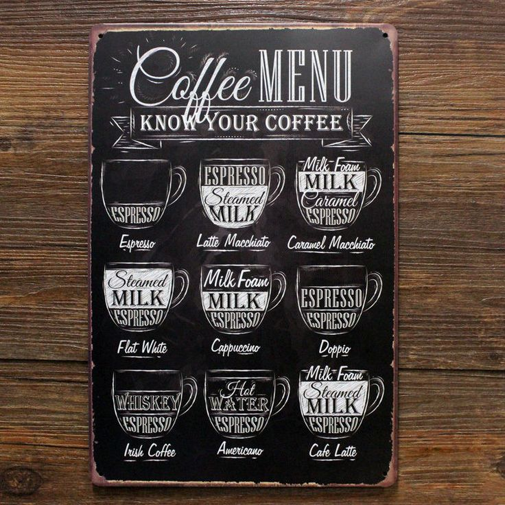 Types of COFFEE MENU Tin Sign Metal Art Wall Decor Cafe Display Caferia Shop