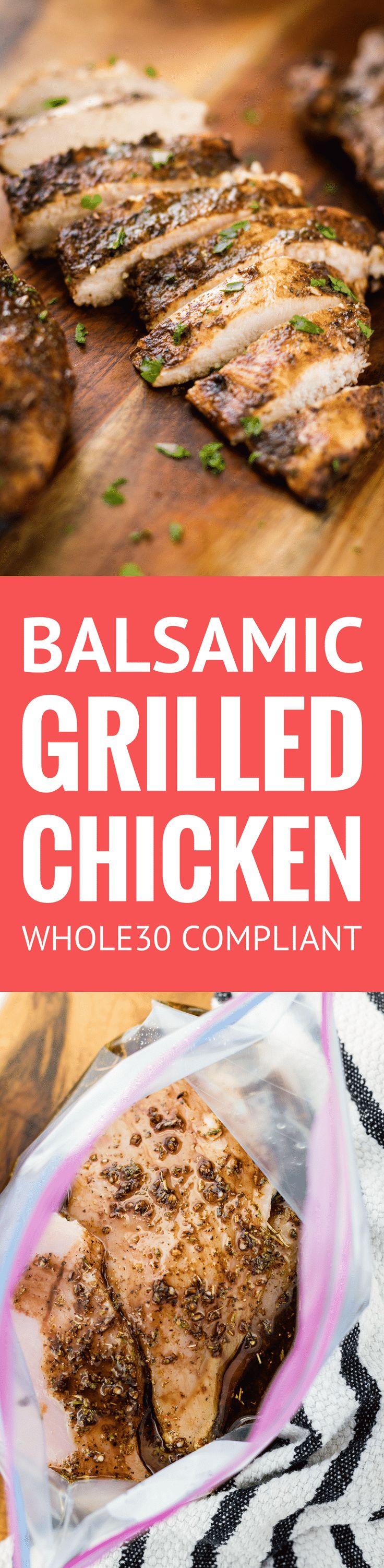 Juicy Balsamic Grilled Chicken -- this balsamic grilled chicken recipe makes the most juicy and succulent boneless skinless breasts EVER with just 4 ingredients and 30 minutes of marinating time! And it's Whole30 compliant… | balsamic grilled chicken marinade | healthy balsamic grilled chicken | whole30 balsamic grilled chicken | find the recipe on unsophisticook.com