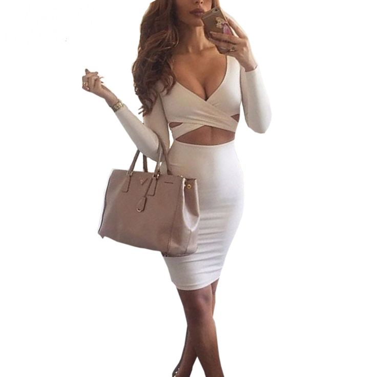 Long Sleeve V-neck Sexy Bodycon Dress