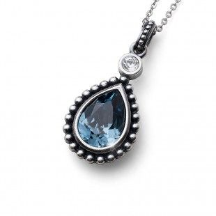 Oliver Weber Women lovely blue pendant necklace antique drop with Swarovski Crystals