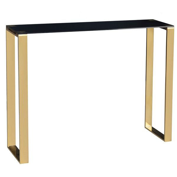 Cortesi Home Black And Gold Glass Remini Narrow Console Table by Cortesi Home