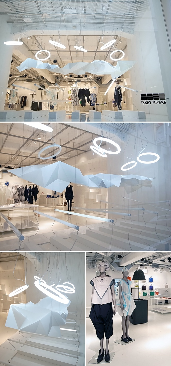"""Store display at Elttob Tep Ginza for 132.5 Issey Miyake. I love the suspended """"cloud"""" and can totally imagine it in my bedroom!!!"""
