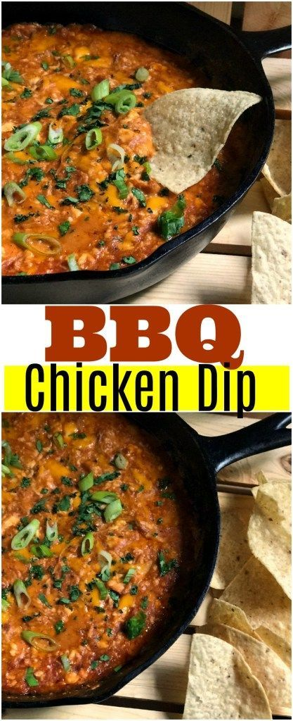 BBQ Chicken Dip is everything that's good, creamy, cheesy, hot 'n' bubbly!  It is perfect as an appetizer, game day food or for your next party! I love to make it with leftover chicken!