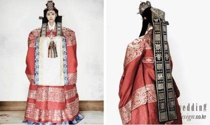 (왼쪽) 봉황문 홍원삼 홍원삼은 왕비가 입는 대례복으로 봉황문을 금박한다. 원삼은 고려시대부터 대례복으...