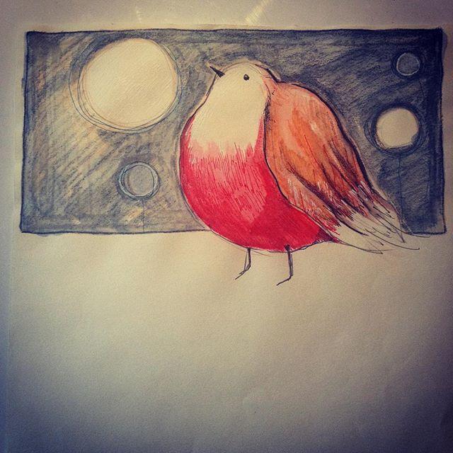 Well fed robin. Ball of feathers. #birds #robin #illustration #plumage #irishartist