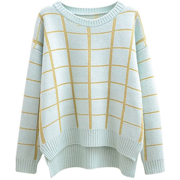 Chicnova Fashion Preppy Style Spun Gold Plaid Grain Sweater ($17) ❤ liked on Polyvore featuring tops, sweaters, shirts, jumpers, shirts & tops, blue shirt, blue plaid shirt, preppy sweaters and plaid jumper