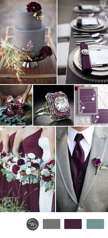 rustic plum purple and grey wedding color ideas More: www.coniefoxdress.com #coniefoxreviews #prom2k