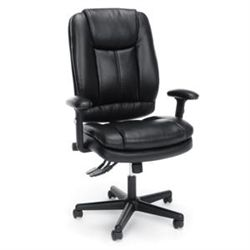 Affordable black leather executive chair with adjustable arms.