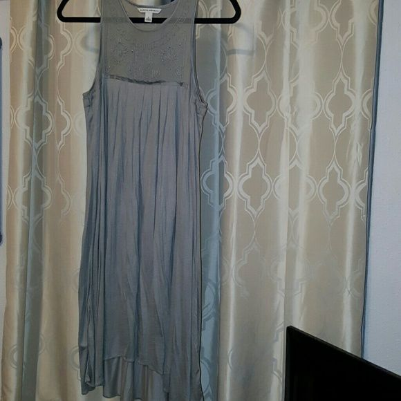 Banana Republic Grey Summer Dress Cotton grey dress, about 4 inches longer in the back than the front, see through mesh on top. WORN ONCE. Small Banana Republic Dresses Midi