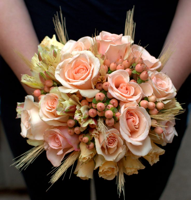 Peach Rose Bridal Bouquet With Wheat, Hypericum Berries