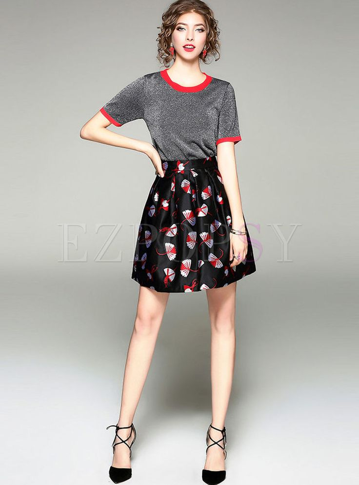 Shop for high quality Short Sleeve Knitted T-shirt & Floral Print Skirt online at cheap prices and discover fashion at Ezpopsy.com