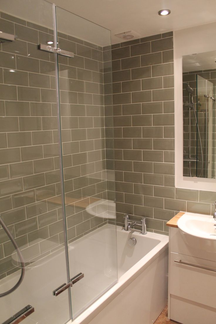 Bathroom paint grey - Brick Metro Tiles In Grey Bit Softer And Less Stark Institutional Than White