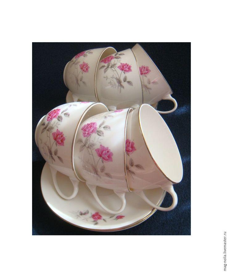 Купить Чашки с розочками Китайский Фарфор 1970-е - винтажная посуда, фарфоровая посуда, белый