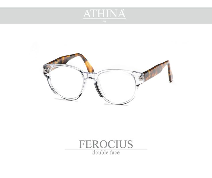 Mod. FER0102V is a spectacles with a rounded shape, totally made in cellulose acetate with an effective combination of colours: Frontal frame is cristal transparent and the two temples with a vintage classic havana colour.