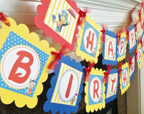 Pinocchio Inspired Happy Birthday Theme - Blue Polka Dot Red & Yellow Accents - Party Packs Available on Etsy, $28.00