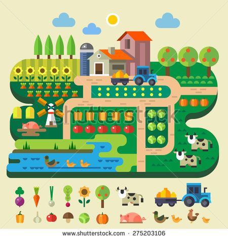 Farm life, country house. Village garden with tractor and windmill. Fruits and vegetables: pumpkin, tree, apple, sunflower, cabbage, tomato. Animals: pig, duck, cow, chicken. Vector flat illustration