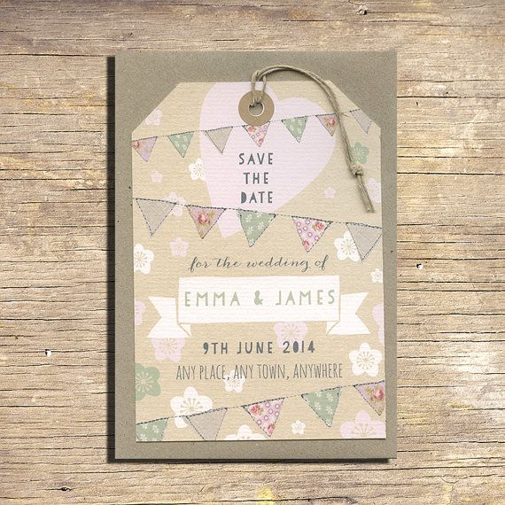 25 Pastel Flowers And Bunting Save The Date Luggage Tags, Rustic Wedding  Stationery, Outdoor