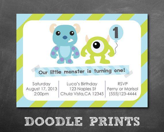 Invitación de Monsters Inc invitación fiesta de por doodleprints