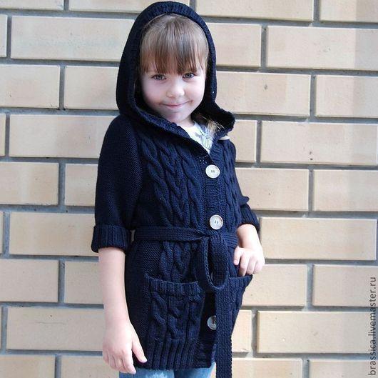 кардиган вязаный для девочки, кардиган вязаный, кардиган детский, вязаная детская одежда, вязаная одежда для детей, кардиган с капюшоном, кардиган с поясом, кардиган с карманами