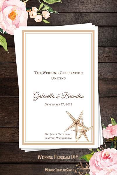 Wedding Program Template Beach Starfish