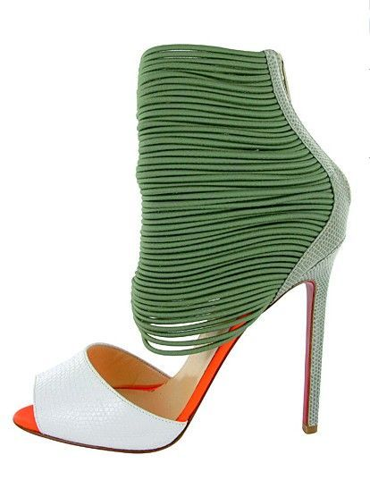 Christian Louboutin green and white heels. St. Patrick's day outfit inspiration. | luxuryshoeclub.com
