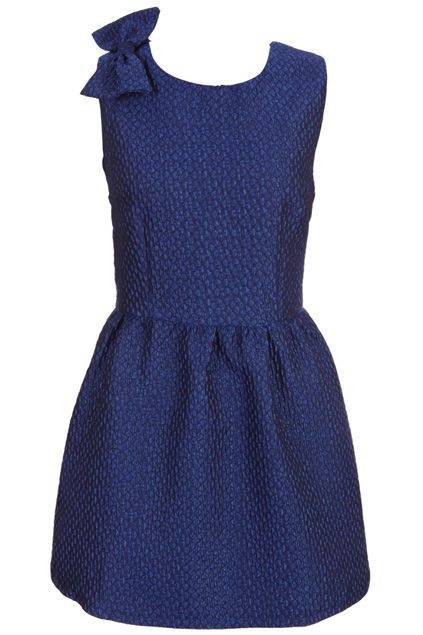 Shoulder With Bowknot Blue Dress #Romwe