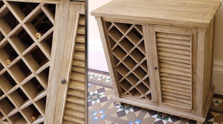 Meuble bar en bois massif avec casier à bouteilles