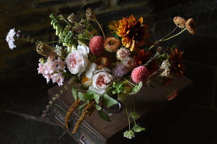 Autumn Flowers: Roses, Rudbeckia, Snapdragon, Dahlias, Scabiosa, Queen Anne's Lace, Strawflowers, Amaranth, Rose, pink, peach, burnt orange