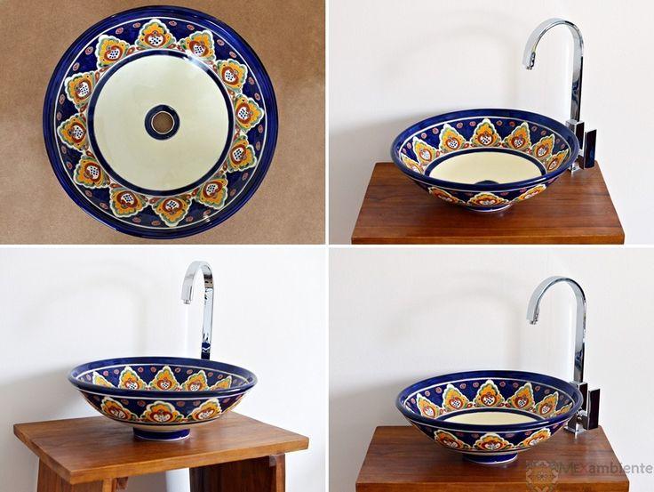 Handbemaltes Aufsatzwaschbecken rund ca. 44 cm