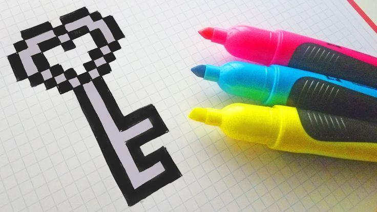 Handmade Pixel Art – How To Draw a Heart Key #pixe…