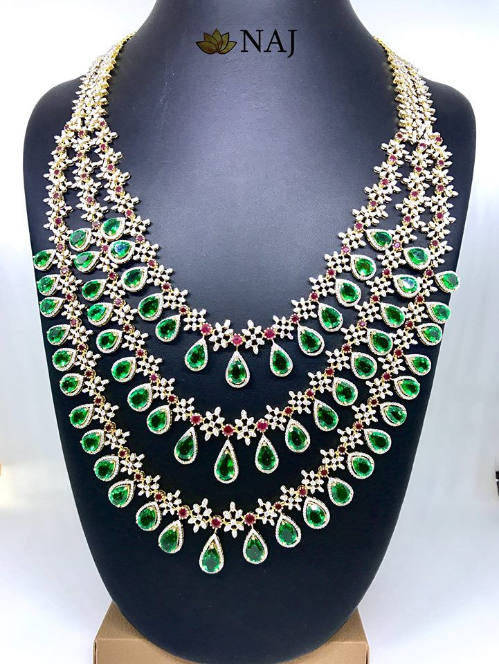 Heavy Bridal Long Sets From Naj Jewellers Diamond Wedding Jewelry Jewelry Indian Diamond Jewellery