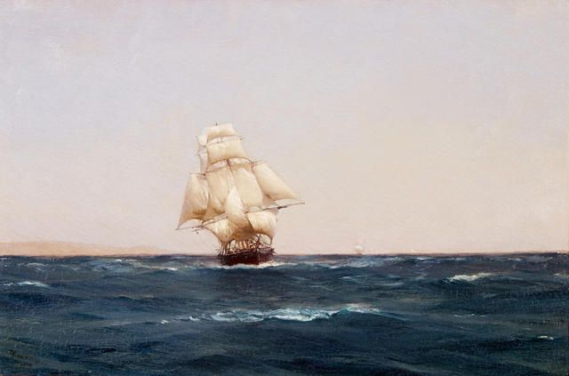 Thomas Jacques Somerscales (British, 1842-1927) A square rigger off Terrapaca, Chile