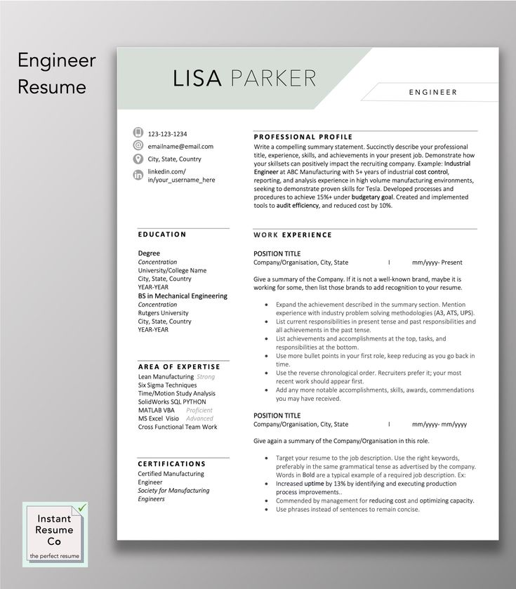 Engineering resume professional resume cv template word