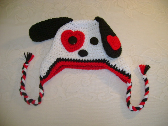 Crochet Valentine Hat : Valentines Day - Puppy Dog Crocheted Hat - Available in Any Size or ...
