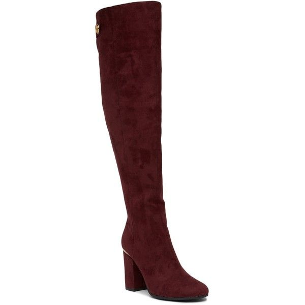 Tommy Hilfiger Narzel Block Heel Tall Boot (4.555 RUB) ❤ liked on Polyvore featuring shoes, boots, drefb, block heel knee high boots, tall boots, elastic boots, round cap and side zip boots