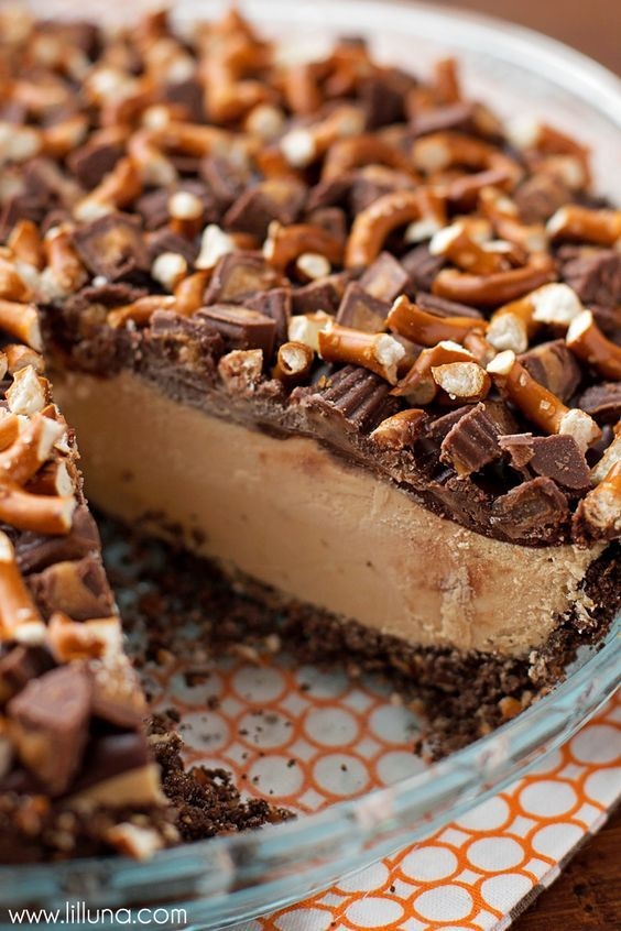 Frozen Peanut Butter Pretzel Pie - an AMAZING frozen dessert consisting of a…