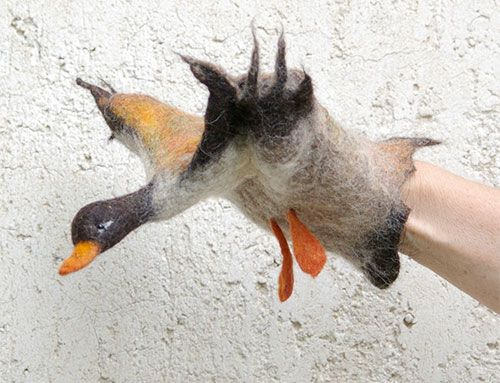 Felted Duck Handpuppet - stunning idea from handmade charlotte displayed on etsy