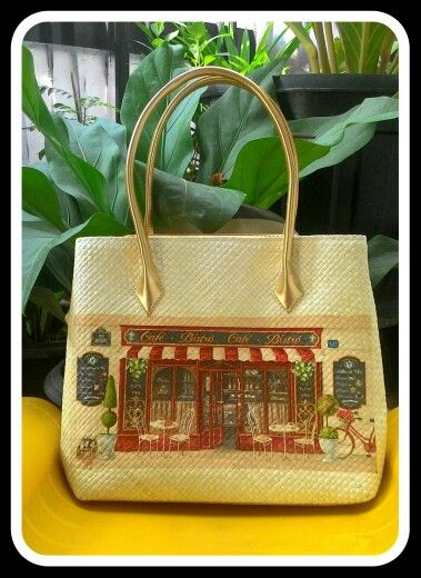 Decouoage on pandan tote bags