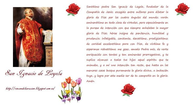 Rincón de la Oración: Estampas Oraciones de San Ignacio de Loyola